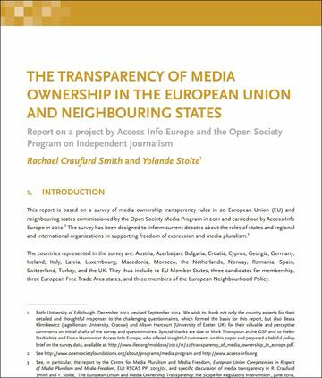 The Transparency of Media Ownership in the European Union and ...