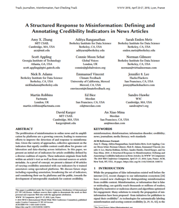 A Structured Response to Misinformation: Defining and Annotating Credibility Indicators in News Articles