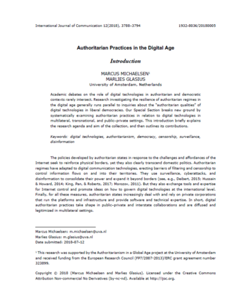 Authoritarian Practices in the Digital Age - Introduction
