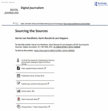 Sourcing the Sources; An analysis of the use of Twitter and Facebook as a journalistic source over 10 years in The New York Times, The Guardian, and Süddeutsche Zeitung