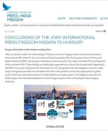 Joint International Press Freedom Mission to Hungary: Conclusions
