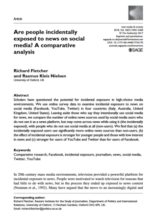 Are people incidentally exposed to news on social media? A comparative analysis