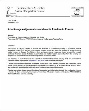 Council of Europe - Attacks against journalists and media freedom in Europe