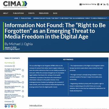"Information Not Found: The ""Right to be Forgotten"" as an Emerging Threat to Media Freedom in the Digital Age"