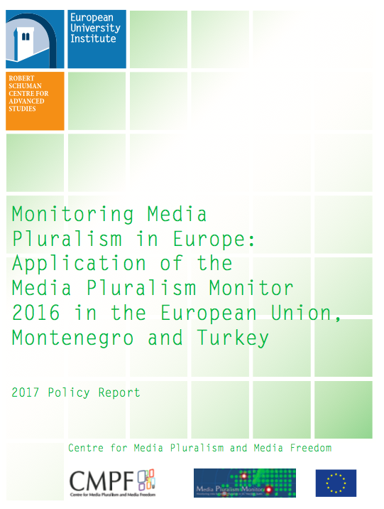 Monitoring Media Pluralism in Europe: Application of the Media Pluralism Monitor 2016 in the European Union, Montenegro and Turkey