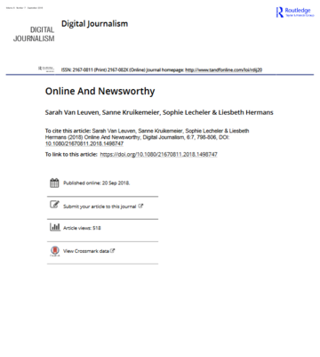 Online and Newsworthy: Have Online Sources Changed Journalism?